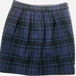Ann Taylor Loft Plaid Pleated Mini Skirt EUC